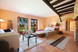 Master bedroom in Spanish style home
