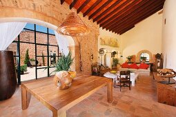 Large living room in Mediterranean style home