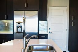 Double sink in kitchen island in contemporary kitchen