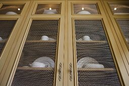 Wire mesh doors of contemporary china cabinet