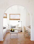 Cozy sitting area in an open, Mediterranean style living room
