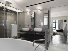 Clean modern master bathroom