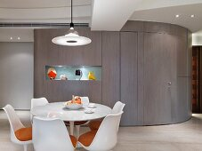 Dining room with modern circular table