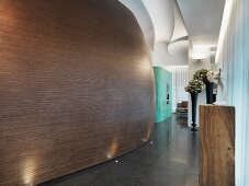 Curved wall in modern building