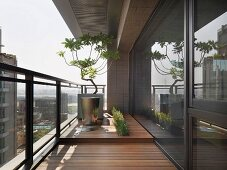 Wooden deck with city view