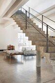 Concrete staircase in a loft