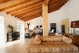 Interior with wooden ceiling beams