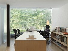 Large desk in modern office