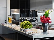 Marble countertop in large kitchen
