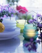 Assorted glass hurricane candles and violet potted plants on the table