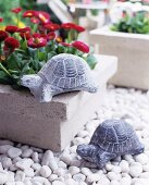 Stone turtles on a flower pot and white gravel