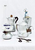 Discarded espresso makers used as practical string dispensers