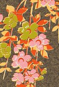 Pink and green tropical floral pattern (print)