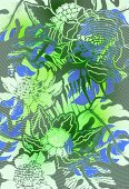 Multi-layered pattern of tropical flowers and leaves (print)