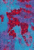 Blue paint splashed over red tribal pattern (print)