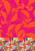 Abstract peacock pattern in bold colours (print)