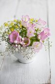 Bouquet with bell flowers, baby's breath and fennel flowers