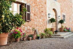 Outside view of entrance area of traditional, Spanish Finca with stone facade and potted plants