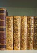 Antiquarian books in open bookcase