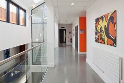 Modern hallway in a college with skylight and glass stairwell (Oxford and Cherwell Valley College)