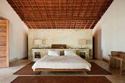 Beamed bedroom of Goan beach house retreat, India
