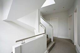 Modern architecture - white stair case and hallway