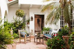 Courtyard garden with wooden furniture and potted plants