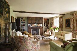 Edwardian style drawing room in home of fabric designer Richard Smith in East Sussex