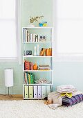 Books and box files on modern shelves against pastel blue wall and stack of cushions on flokati rug