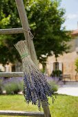 Dried bouquet of lavender on old wooden ladder; Provencal property in blurred background