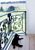 Black cat washing itself on gallery with panoramic view of rural surroundings