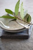Sprig of bay and silver fork in a dish