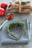 Heart made of thyme sprigs
