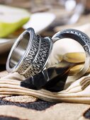 African napkin rings and horn cutlery
