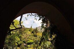 View of glorious, Mediterranean landscaped garden through archway