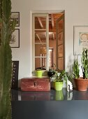 Vintage wooden chest next to potted plants on grey shelf in foyer with window showing view of interior