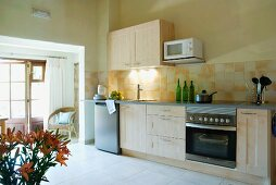 Wide doorway in modern kitchen with simple counter in pale wood