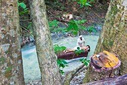 Blick zwischen Bäumen hindurch auf Bachlauf mit Massageliege, Masseur und liegender Frau