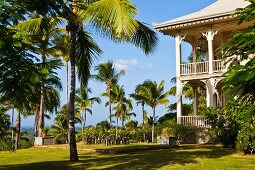 Two-storey, elegant, colonial-style hotel with circumferential veranda in garden of palm trees