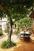 Innenhof mit Terrassenplatz zwischen schattenspendenden Bäumen