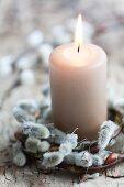 Weidenkätzchen-Kranz mit Kerze