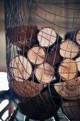 Logs hug up in net