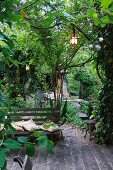 Twilight atmosphere on garden terrace with bench below illuminated lanterns hanging in trees