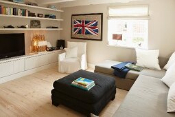 Sofa combination in modern interior with Union Flag