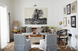 Living room in natural colours with antique wooden sofa below photorealistic picture