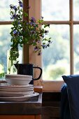 Stack of vintage plates and vase of blue flowers in front of window