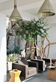 Comfortable outdoor armchairs in front of potted trees on Mediterranean veranda