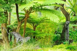Statue of monkey on tree trunk and running cheetah in jungle-like natural garden