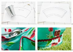 Craft instructions - a metal bucket on top of a drawing, and a section of a bag for holding garden tools, placed on the grass