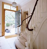 Staircase in hallway of English house